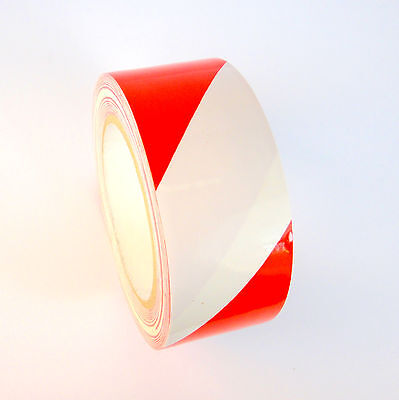 1 Roll - Striped Vinyl Tape - Redwhite - 2 48mm X 108 Ft