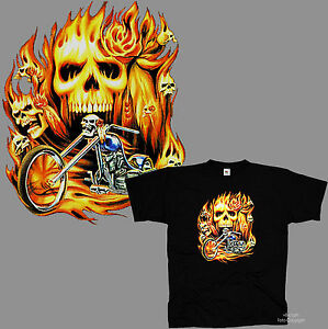 Chopper-Flammen-Rocker-Rider-Skull-Totenkopf-Biker-T-Shirt-Sonderpreis