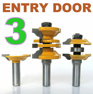 3 Pc 1 2 Shank Ogee Entry Interior Door Matched R S Router Bit Set Ebay