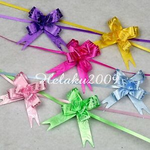 60pcs-Pull-Flower-Ribbon-Bow-Gift-Wrap-6-COLOR-12mm
