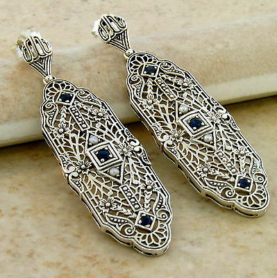GENUINE SAPPHIRE ANTIQUE ART DECO DESIGN .925 SILVER FILIGREE EARRINGS,     #149