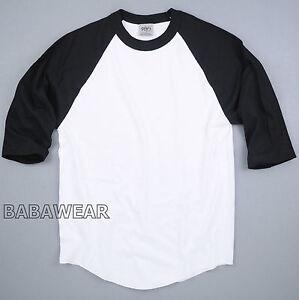 Shaka-Plain-Baseball-Shirt-Raglan-3-4-Sleeve-Black-White-BABA-Vintage-Look