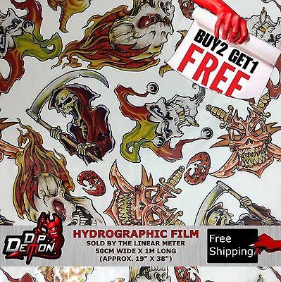 Lm Tatto Hotrod Skulls Hydrographic Water Transfer Film Hydro Dipping Dip Demon