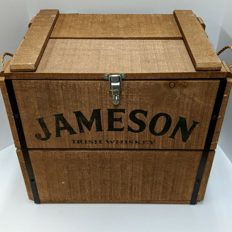 Jameson Irish Whiskey Rustic Wood Crate w/ Lock Latch Irish Pub Man Cave Bar