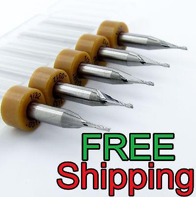 5 - 132 .0312 Carbide 2 Flute Endmill New Kyocera Tycom .110 Loc