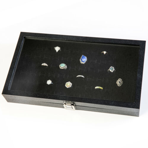 Glass Top Ring Display Showcase With 72 Slot Velvet Liner Jewelry Organizer
