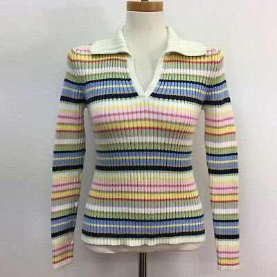 Tommy Hilfiger Womens Sweater Small Multi-color Ivory Pink Yellow Blue Striped