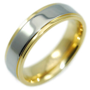 real tungsten with 18k gold ip wedding band promise ring