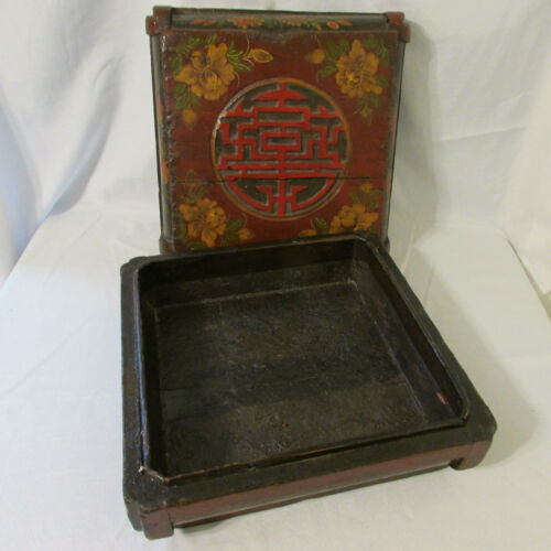 Antique Lacquer Painted Chinese Wood Gift Presentation Box with Certificate