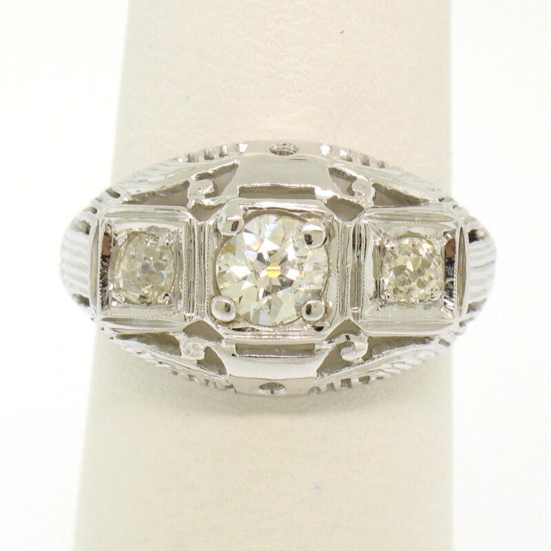 Antique Art Deco 18k White Gold Filigree 0.72ctw 3 Old European Cut Diamond Ring