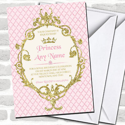 Gold & Pink Crown Princess Children's Birthday Party Invitations - Princess Invitations