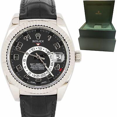 MINT 2017 Rolex Sky-Dweller 18K White Gold 42mm Black Arabic Strap Watch 326139