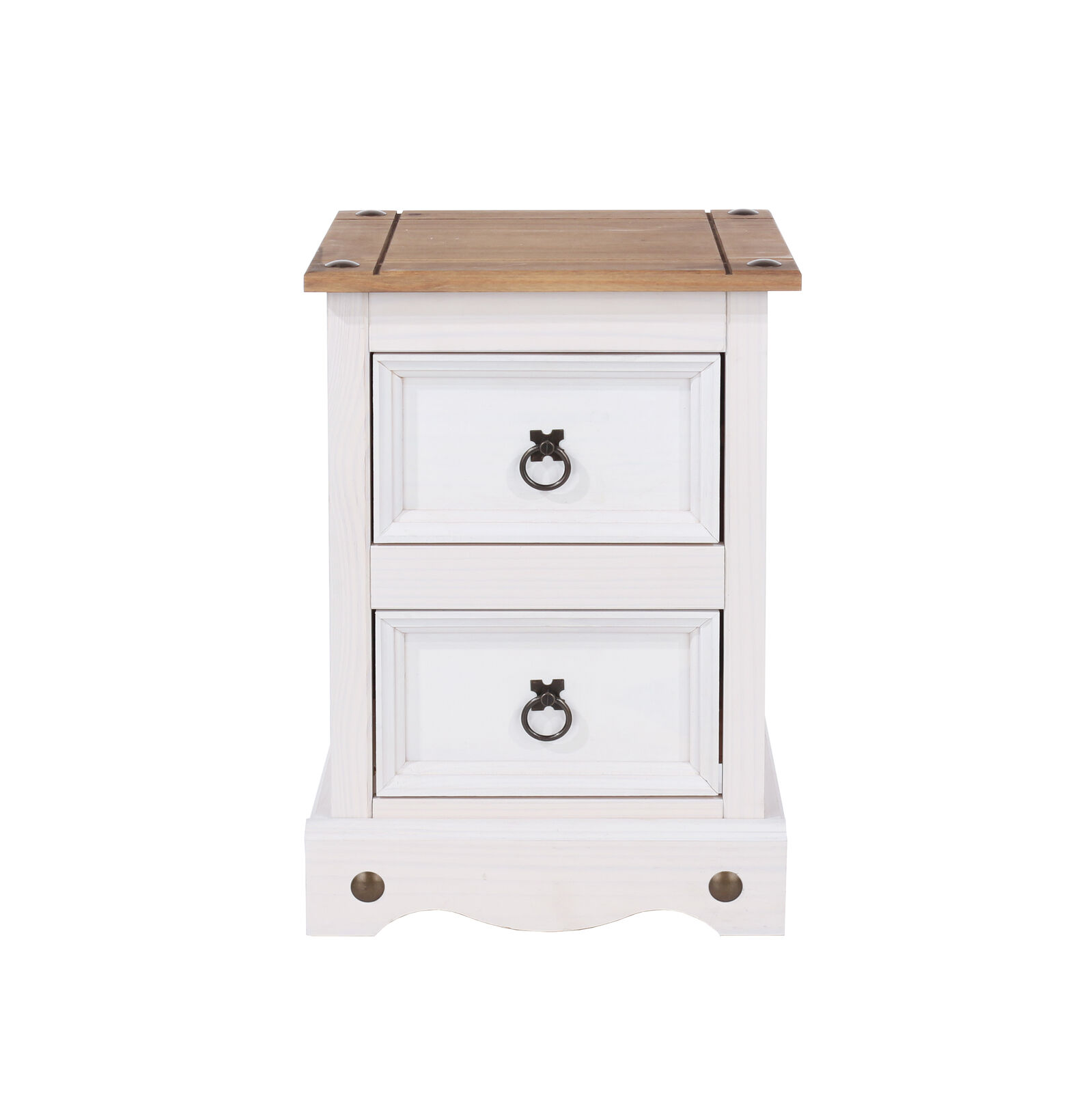 Picture of: Corona White 2x 2 Drawer Bedside Cabinet Tables Solid Wood Washed Pine Top Ebay