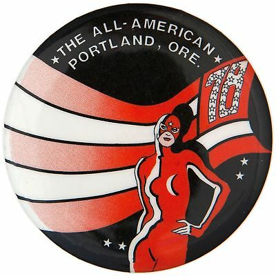 """THE ALL-AMERICAN PORTLAND, ORE. 78"" SEXY COSTUMED SUPER HERO BUTTON. - Costumes Portland Oregon"