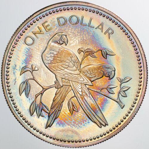 1977 BELIZE 1 DOLLAR FRANKLIN MINT STERLING SILVER PROOF BU TONED GEM UNC (DR)