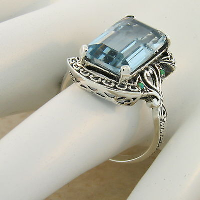 VICTORIAN .925 STERLING SILVER ANTIQUE STYLE SIM AQUAMARINE RING SIZE 8, #821