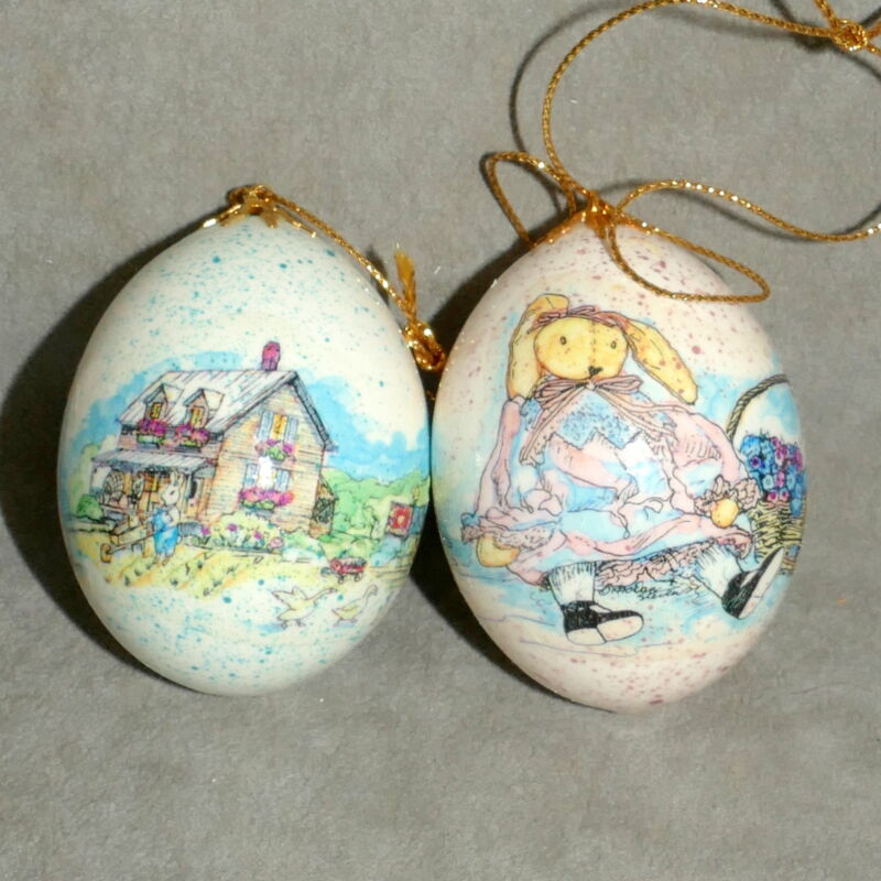 EASTER Ornament Egg Hand Painted Rabbit Bunny Store Buildings Lot of 2