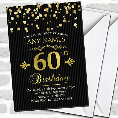 Gold Confetti Black Striped 60th Birthday Party Invitations](60 Birthday Invitations)