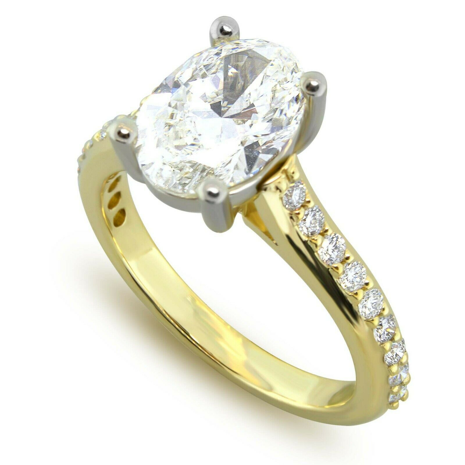 1.45 Carats I-SI1 GIA cert. Oval Diamond Engagement Ring 14k Yellow & White Gold 1
