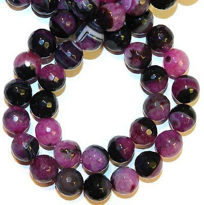 GR2143 Fuchsia Agate & Crystal Quartz 12mm Faceted Round Gemstone Beads 15