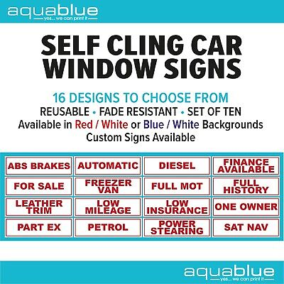 10 x Self Cling Car Sales Stickers Reusable Sales Signs Advertising Window CHEAP