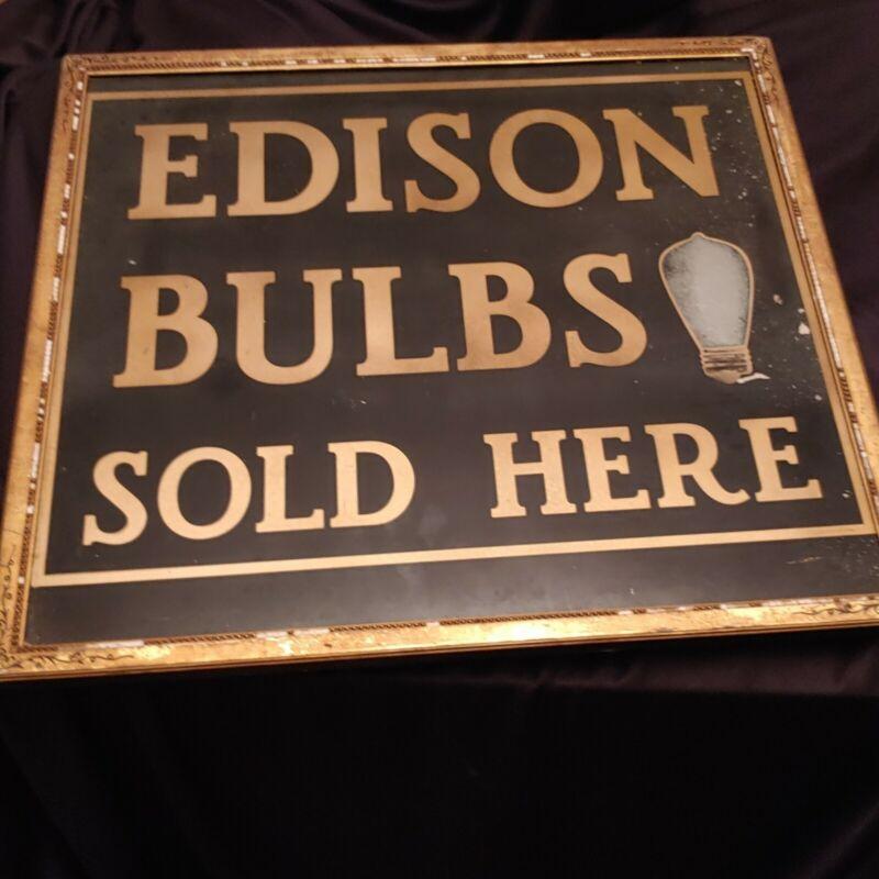 Edison Lightbulb Reverse Painted Sign Advertising 19th Cen. Lone Survivor ???