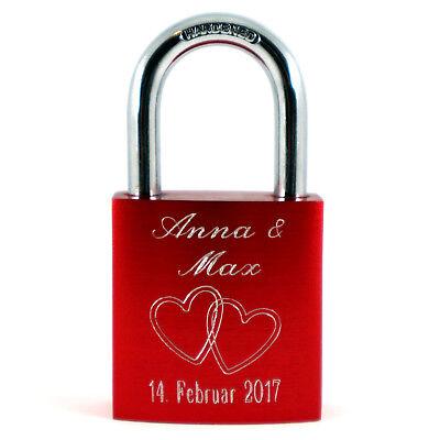 Liebesschloss beidseitig graviert Wunschggravur Herzen 2 Schlüssel Valentinstag