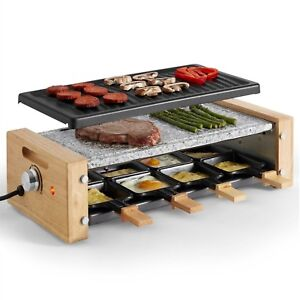 VonShef Raclette Grill Maker Machine Natural Stone Hot Plate 8 Person Table Top
