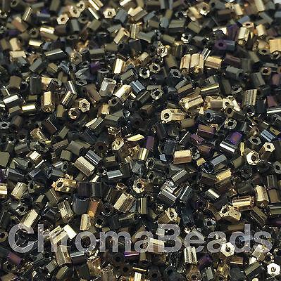 50g glass HEX seed beads - Metallic & Iris mix - size 11/0 (approx 2mm) 2-cut