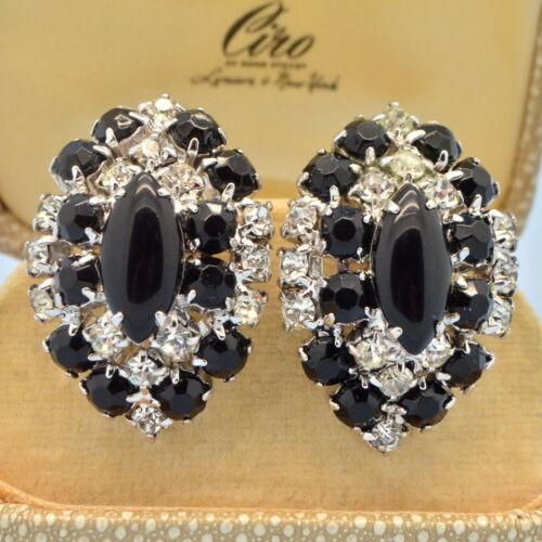 Vintage Earrings Large 1950s Black Glass & Clear Crystal Silvertone Jewellery