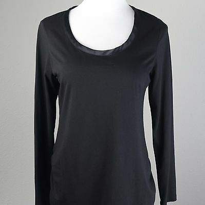 Motherhood Maternity L Black Scoop Long Sleeve Cotton Modal Blouse T Shirt Top