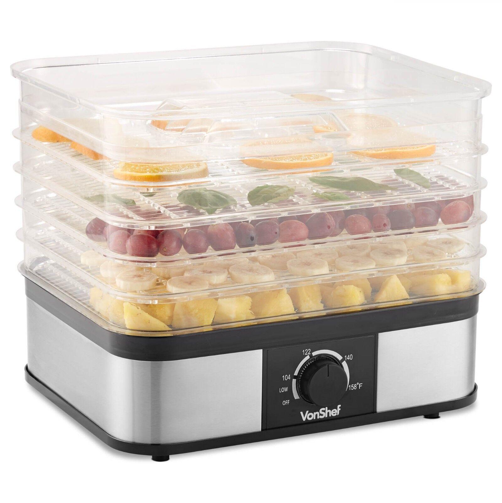 VonShef 5 Tray Food Dehydrator Machine Electric Food Preserv