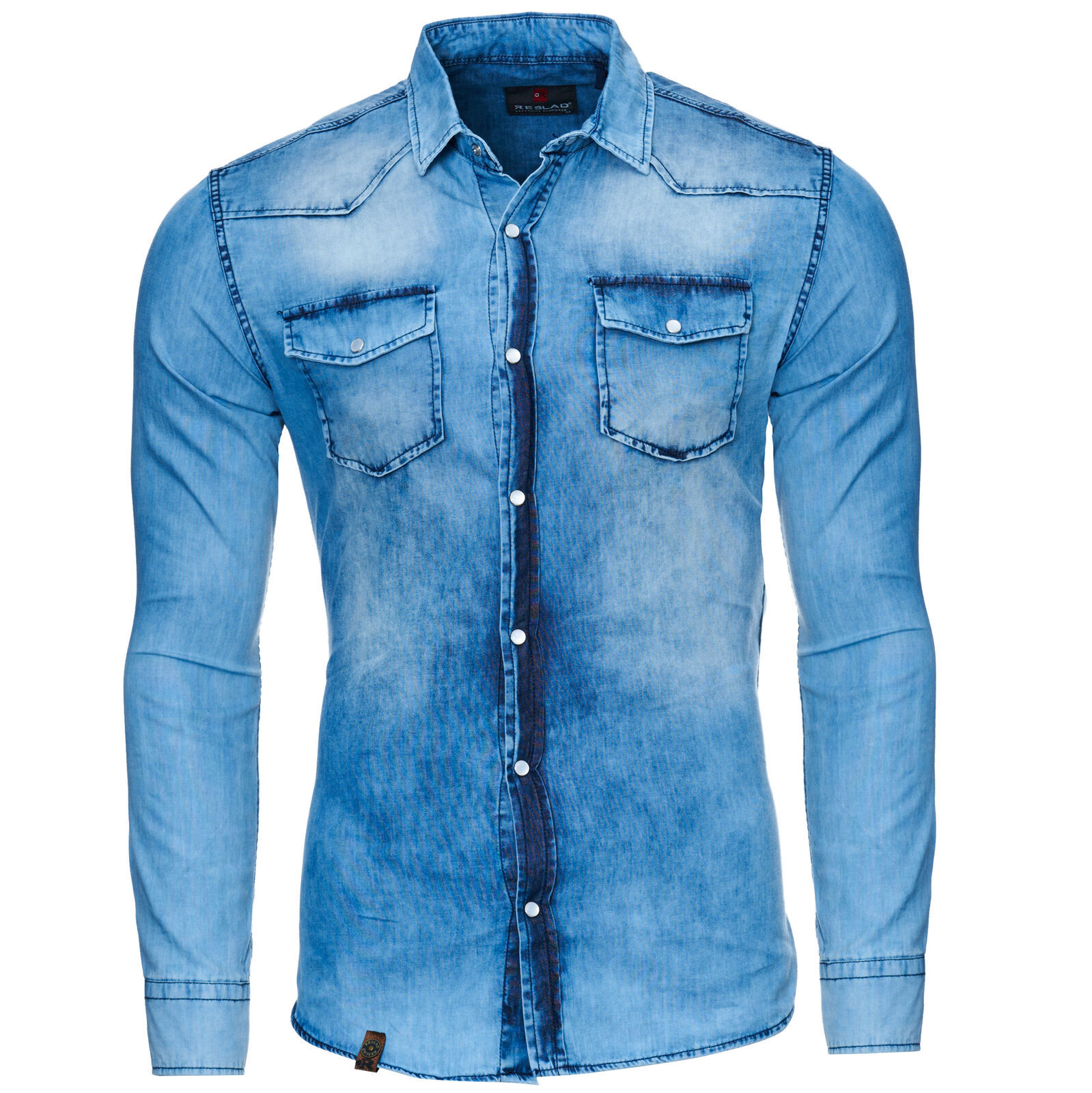 Reslad Herren Vintage Jeanshemd Denim Jeans Hemd T-Shirt Freizeithemd RS-7109