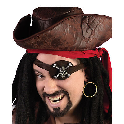 Fun World Caribbean Pirate Eye Patch Earring 2pc Costume Accessory Kit