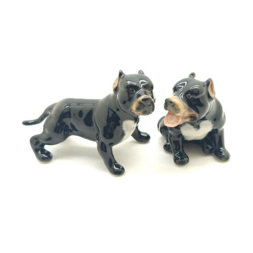 2 Pit Bull Terrier Dog Figurine Ceramic Animal Baby American Statue - CDG036