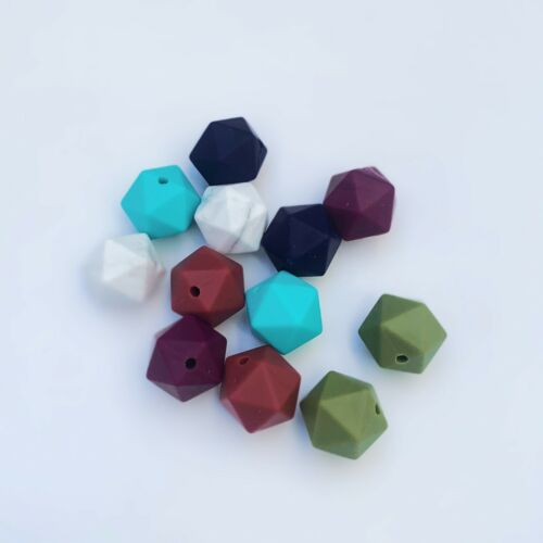 400 - 14mm Hexagon Silicone Beads Bulk Sets of 5