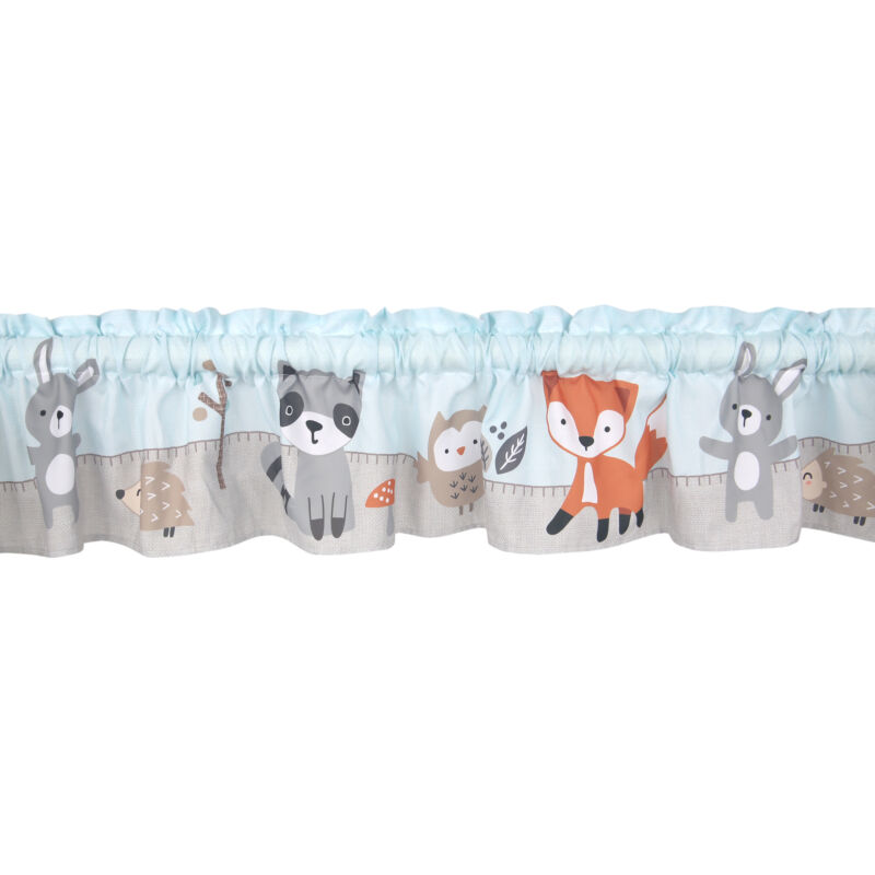 Bedtime Originals Woodland Friends Mint Blue/Gray Forest Animals Window Valance