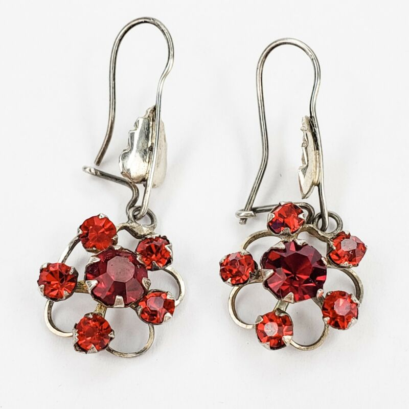 Vintage Silver Tone and Bright Red Rhinestone Earrings