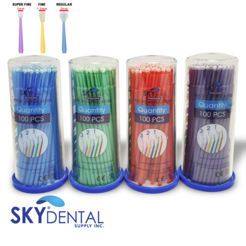 400 Micro Brush Applicator Tips Microbrush Dental Regular / Fine / Super Fine