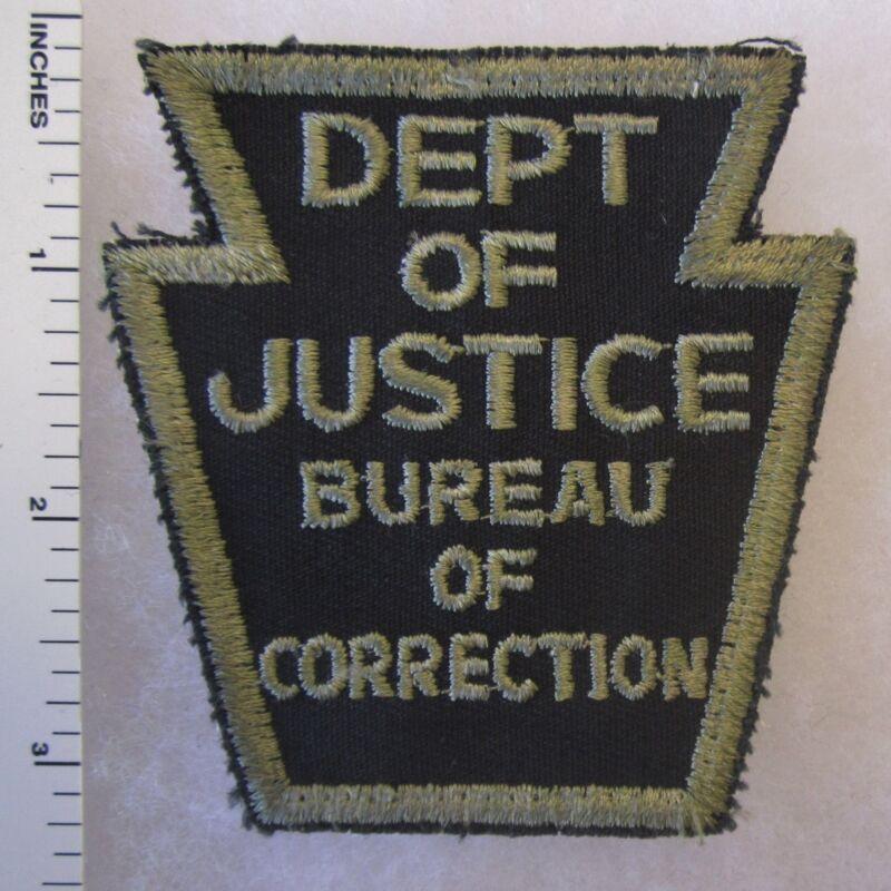 Vintage Cut Edge PENNSYLVANIA DEPT of JUSTICE BUREAU of CORRECTION PATCH - BLACK