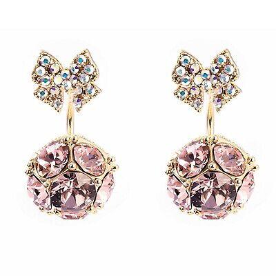 98c2c7361 Fine 18K Gold Plated Swarovski Crystal + Sterling Silver Large Pink Earrings