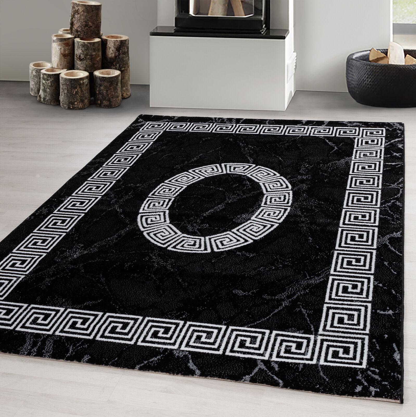 Designer Teppich Modern Kurzflor Marmor Optik Mäander Muster Schwarz Weiß