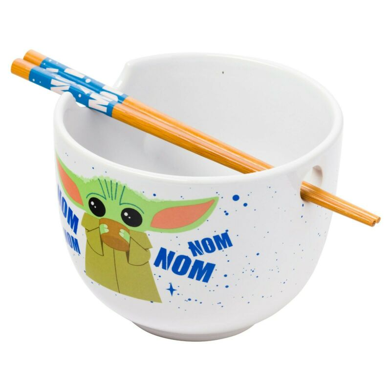 Star Wars Mandalorian Nom Nom Child 20 Ounce Ceramic Ramen Bowl w/ Chopsticks!!!