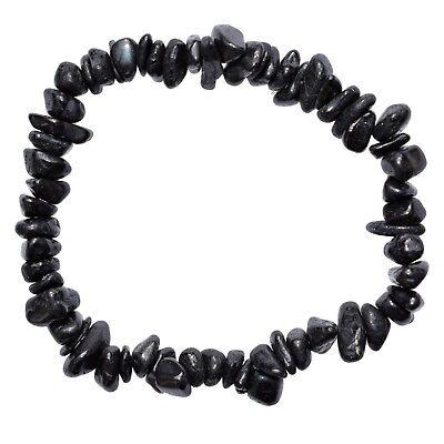 Black Crystal Bangle (CHARGED Black Tourmaline Crystal Chip Bracelet Polished Stretchy ENERGY)