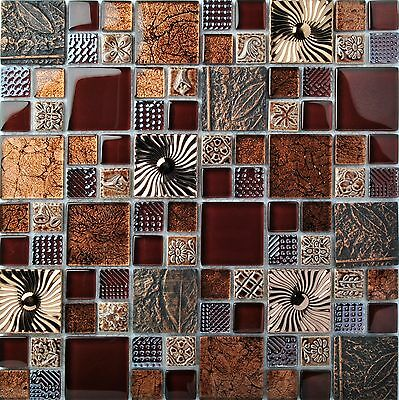 Red Wine Glass Leaf Fossil Resin Carving Wall Backsplash Ideas Tiles Mosaic Art