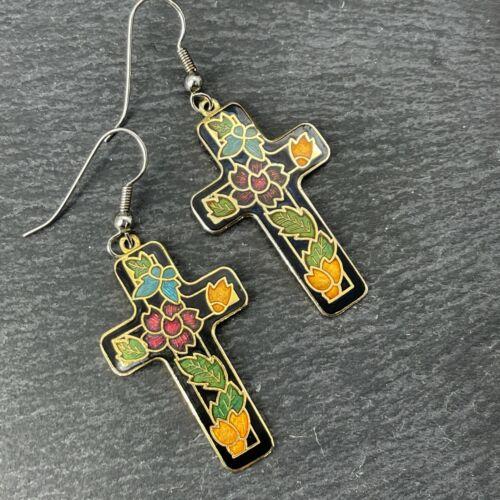 Vintage 925 Sterling Silver Cross Earrings Enamel Inlay Flowers Leaves Gold Tone