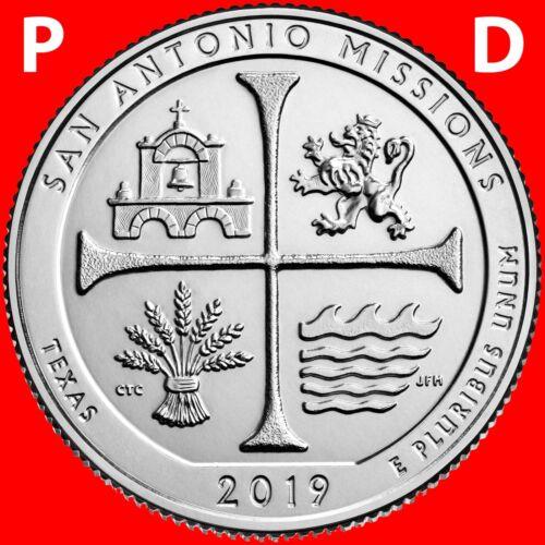2019 P&D SAN ANTONIO MISSIONS (TX) NATIONAL PARK TWO UNCIRCULATED QUARTERS SET