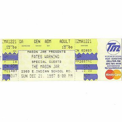 FATES WARNING Full Concert Ticket Stub PHOENIX 12/21/97 A PLEASANT SHADE OF GRAY
