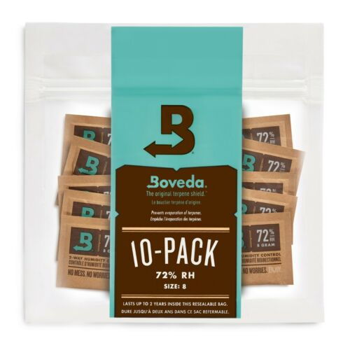 Boveda 72% RH 2-Way Humidity Control | Size 8 for Up to 5 Cigars | 10-Count