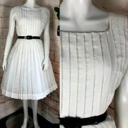 Vintage 50s 60s Henry Rosenfeld White S/M Pleated Pleat Full Skirt Dress 1950s